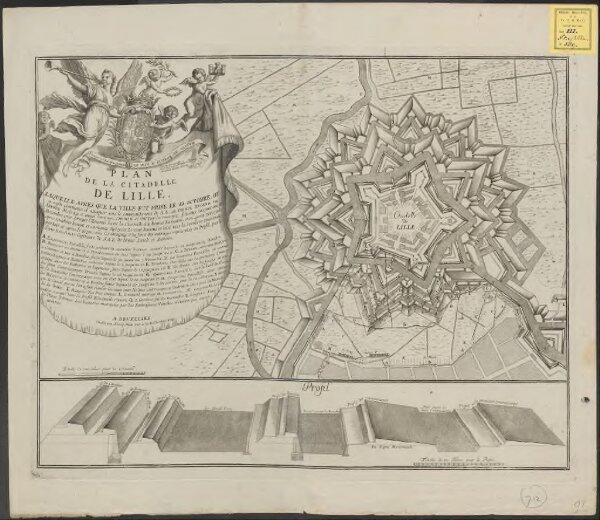 Plan de la citadelle de Lille: laquelle, apres que la ville fut prise le 22. Octobre, on a aussi commencé d'attaquer sous le commandement de S. A. Le Prince Eugene de Savoye dès le 29. et ainsi continué ... iusques au 8. Decembre 1708 ...