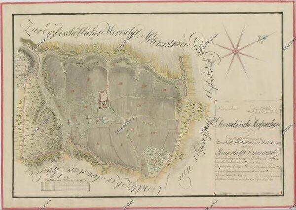 Geometrický plán dvora Branovice s přilehlými pozemky, tvořící enklávu v panství Týn nad Vltavou 1