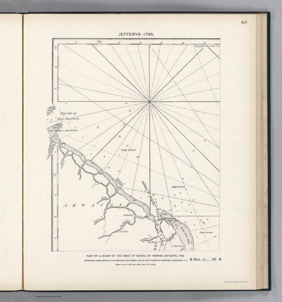 Facsimile:  Part of Chart of the Guiana Coast by Jefferys.