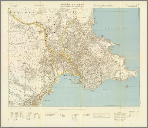 Torquay England Map.Street Map Of Torquay England With Military Geographic Features Bb 36