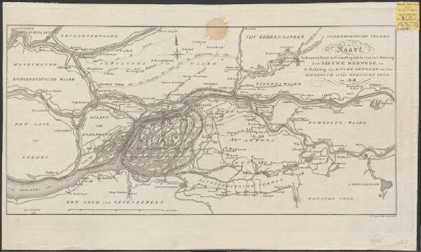 Kaart, behoorende tot de grondbeginselen van het ontwerp der Nieuwe Merwede en de bedijking van de Oude Merwede en den Biesbosch of het Bergsche Veld in 1818