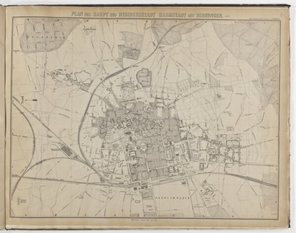 Plan der Haupt- und Residenzstadt Darmstadt mit Bessungen