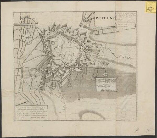 Bethune: attaque du General Fagel où il a fait ouvrir la tranchée la nuit du 23. au 24me de Juliet : attaque du General Schoulenbourg ou l'on n'a ouvert la tranchee que le 27. de Juliet
