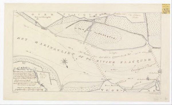 Kaart van een gedeelte der rivier het Haringvliet, van boven den Stadsen Hoek tot Hellevoetsluis, met eenige dwarspeilingen, gedaan by laag water in maart des jaars 1781