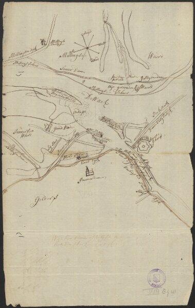 [Manuscript map of the river situation near Schenkenschans and Bijlandsche Waard]