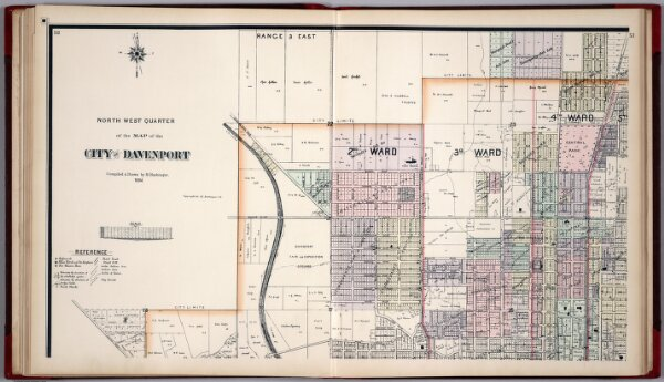 North West Quarter of the Map of the City of Davenport, Iowa.