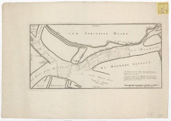 [Kaart van de rivier de Merwede bij Dordrecht wegens de verzanding van de rivier ter hoogte van Dordrecht en Papendrecht]