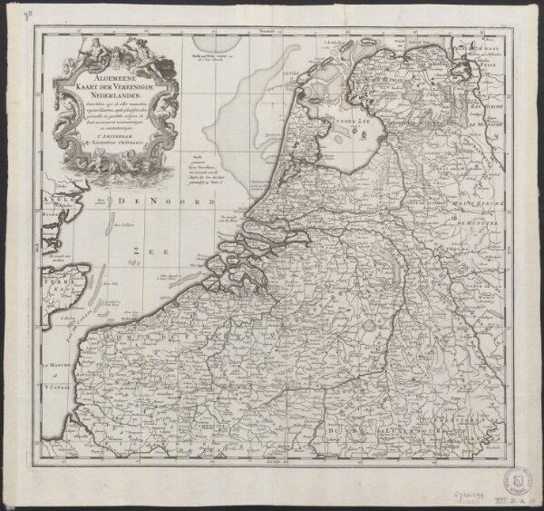 Algemeene kaart der Vereenigde Nederlanden : getrokken uyt de aller naauwkeurigsten kaarten, opde plaatsen selve gemaakt, en geschikt volgens de beste en nieuwste waarnemingen en aanteekeningen.