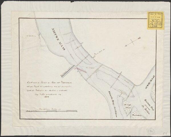 Caart van de rivier de Maas voor Vlaardingen, met een project tot verbeetering van het vaarwater, zijnde de peilingen der dieptens op ordinair hoog water gereduceerd in 1800