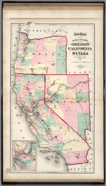 Railroad and County Map of Oregon, California, and Nevada.