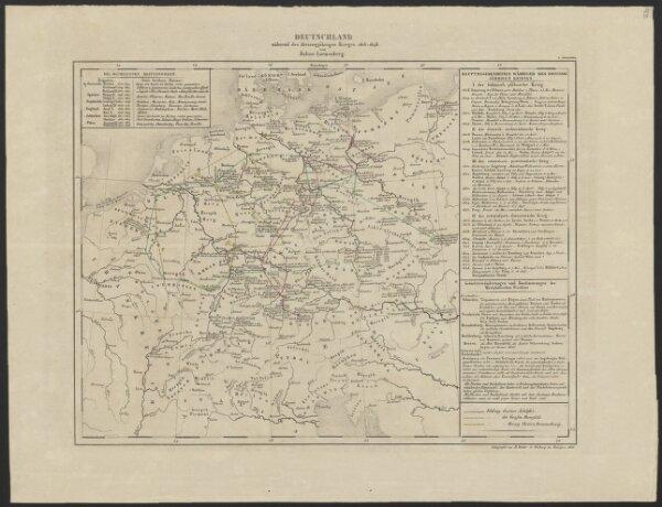 [Historisch-geographischer Atlas zu den allgemeinen Geschichtswerken von C. v. Rotteck, Pölitz u. Becker] : Deutschland während des dreissigjährigen Krieges 1618-1648