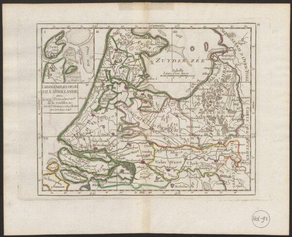 Carte generale des IX de la Hollande; avec la Seig. d'Utrecht, Par.tie de la Gueldre, &c.