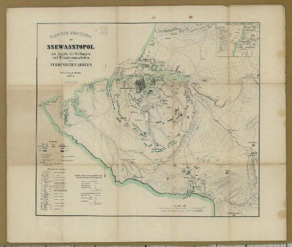 Plan der Umgebung von Ssewasstopol mit Angabe der Stellungen und Belagerungs-Arbeiten der verbündeten Armeen