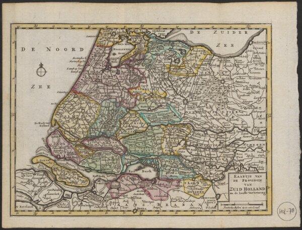 Kaartje van de provincie van Zuid Holland na de laaste verbetering