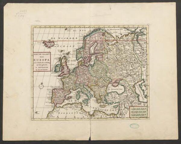 Nieuwe kaart van Europa na de alderlaatste ondekking int licht gebracht, te Amsterdam by Isaak Tirion
