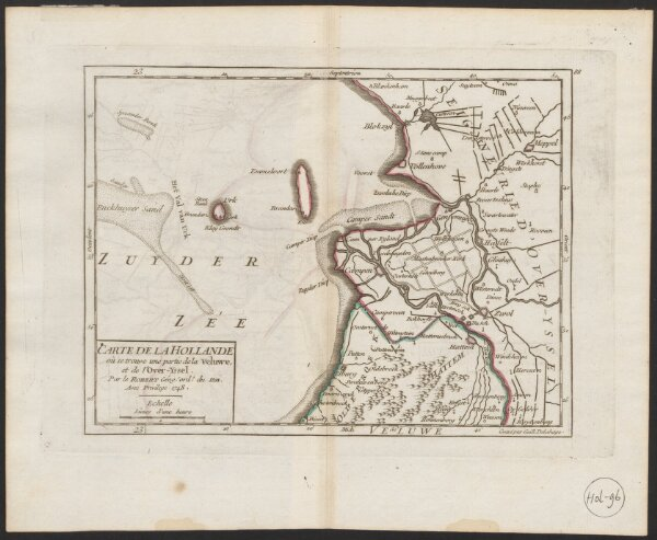Carte du la Hollande où se trouve une partie de la Veluwe, et de l'Over-Yssel