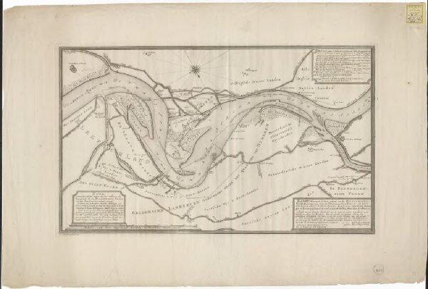 Kaart, vertoonende de waare gedaante van den Bylandschenwaard, benevens den loop der rivieren: De boven Rhyn, Whaal, en Pannerdensche canaal ...: zynde tot een klaarder denkbeeld van de ongemeen groote verandering in de situatie en loop der riviere daar t