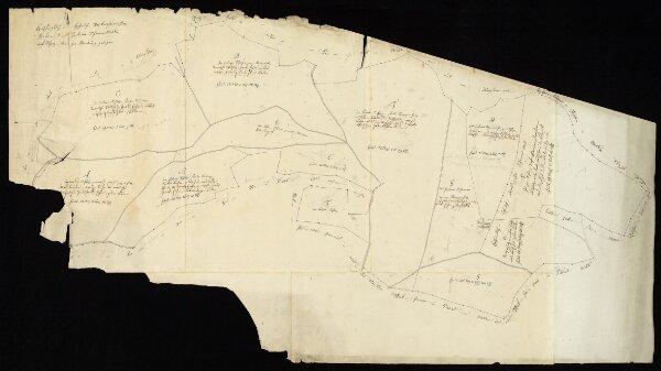 """HZAN GA 100_Nr. 373_ : Schrozberg; """"Geometrischer Plan über den ... vordern und hintern Schorrenwald"""";Kohler jun., Geometer in Rothenburg;60 Ruten = 14,1 cm;110 x 61 cm; Norden oben;Papier auf Leinwand; Federzeichnung; Grenzsteine nummeriert; Anlieger namentlich verzeichnet."""