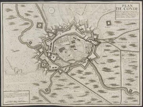 Plan de Conde: ville forte du Comté de Hainaut situee sur l'Escaut au conflent de la riviere d'Haine a deux lieues de Valenciennes a cinq de Tournay a quatre de Mons et cinq d'Ath