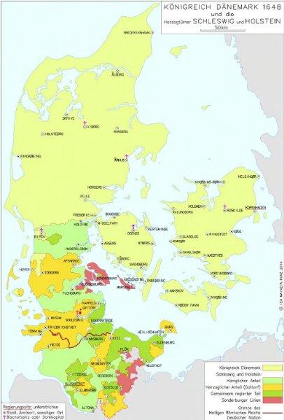Königreich Dänemark 1648 und die Herzogtümer Schleswig und Holstein