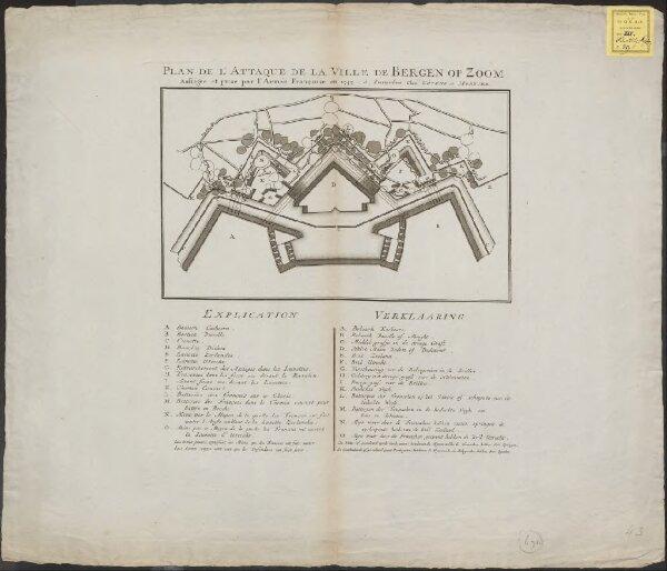 Plan de l'attaque de la Ville de Bergen op Zoom assiégée et prise par l'Armée Françoise en 1747