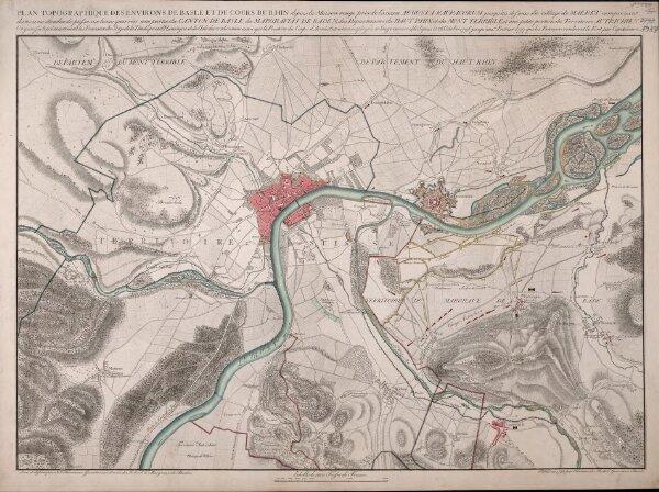 Plan Topographique des Environs de Basle et du Cours du Rhin depuis la Maison rouge près de l'ancien Augusta Rauracorum jusque'au dessous du village de Maerkt