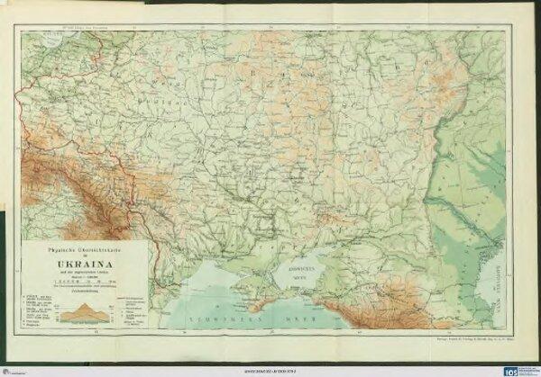 Physische Übersichtskarte der Ukraina und der angrenzenden Länder
