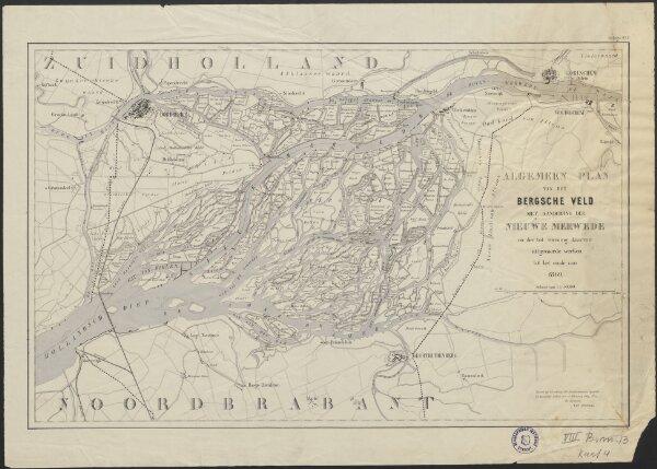 Algemeen plan van het Bergsche Veld met aanduiding der Nieuwe Merwede en der tot vorming daarvan uitgevoerde werken tot het einde van 1869