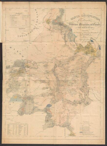 Carta geognostica de los principales distritos minerales del Estado de Mexico
