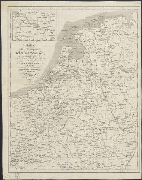 Carte du Royaume des Pays-Bas, comprenant les routes de poste et relais depuis Paris jusqu'aux frontières septentrionales de la Hollande, avec un Itinéraire des communications de Strasbourg à Amsterdam et Hambourg