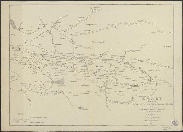 Kaart van den grooten Zuidhollandschen waard, zoo als die was voor de overstroomng door den St Elisabets Vloed in 't jaar 1421