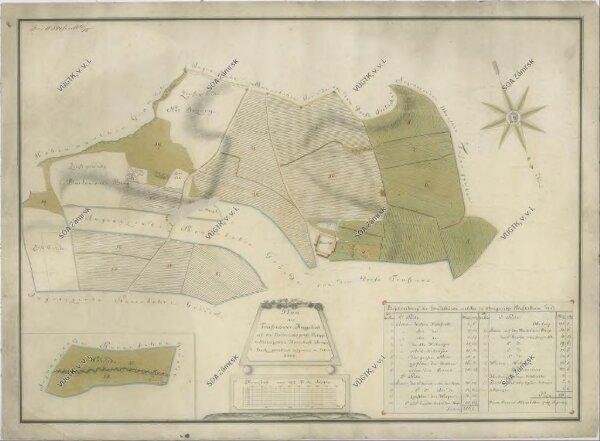 Mapa pozemků vrchnostenského dvora v Trusnově