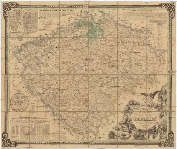 Topographisch-statistische Post und Strassenkarte des Königreiches Boehmen
