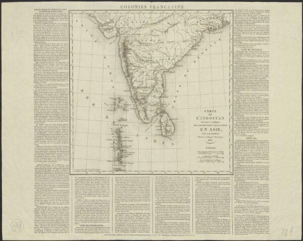 Carte de l'Indostan servant à indiquer les possessions françaises en Asie