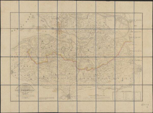 Carte topographique des rives de l'Escaut Occidental et du Canal de Gand à Terneuzen, indiquant les poldres, digues, écluses, waterinques ainsi que les limites des Flandres et de la Zélande