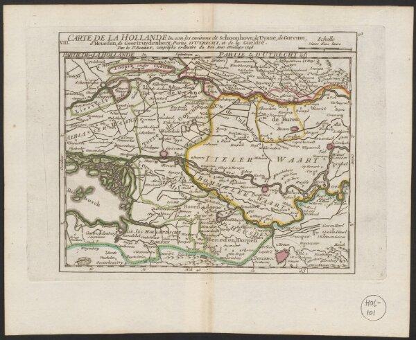 Carte de la Hollande où son [!] les environs de Schoonhove, de Uyane [= Vianen], de Gorcum, d'Heusden, de Geertruydenberg, partie d'Utrecht, et de la Gueldre