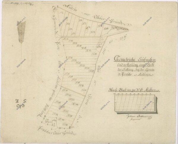 Mapa rozdělené části pastviny u vsí Perálec a Kutřín