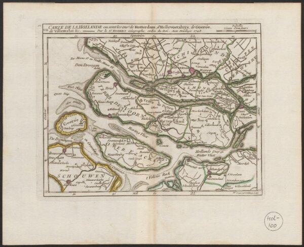 Carte de la Hollande ou sont les envs. de Rotterdam, d'Hellevoetsluys, de Goerée, de Villemstat &c.