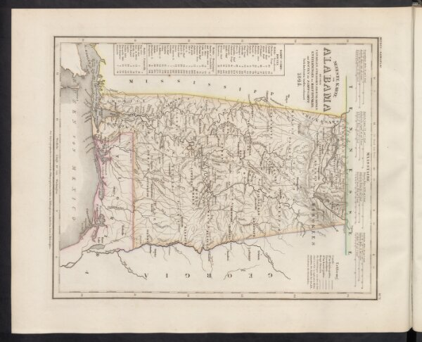 Neueste Karte von Alabama mit seinen Canaelen, Strassen, Eisenbahnen, Entfernungen der Hauptpunkte und Routen für Dampfschiffe