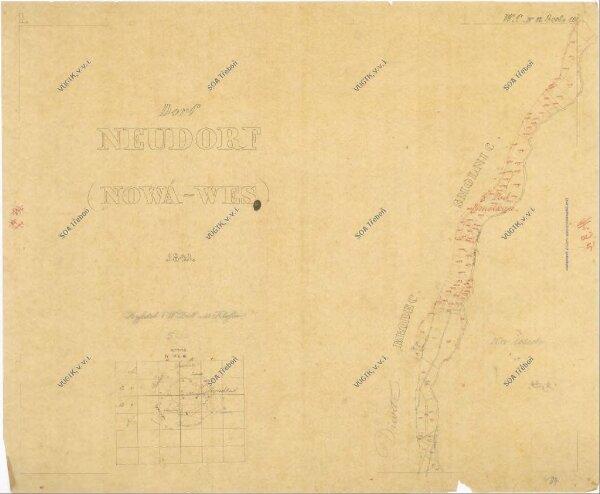 Kopie katastrální mapy obce Nová Ves z roku 1841, list I 1