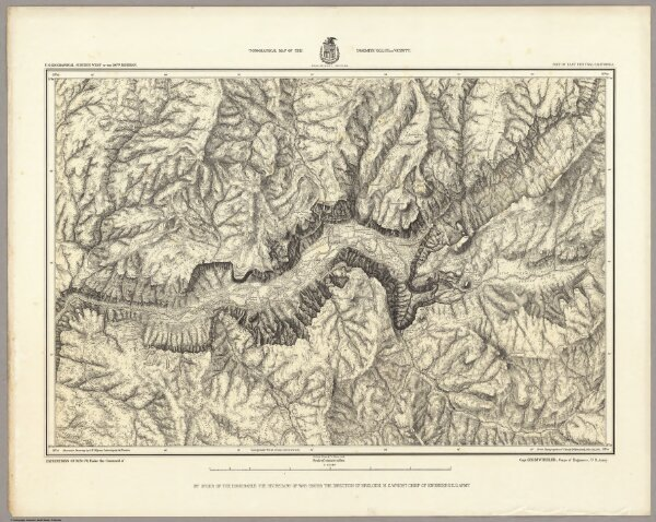 Topographical Map Of The Yosemite Valley And Vicinity.  Preliminary Edition.