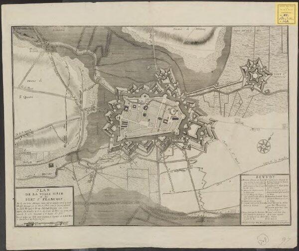 Plan de la ville d'Air et du Fort St. Francois et de ses trois attaques dans l'estat qu'elle estoit quand elle fut assiegée par les Hauts Alliés sous le commandement de S. A. S. Monseig. le Prince d'Anhalt Dessau l'an 1710 ayant été investie le 6me du […]