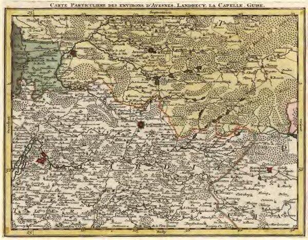 Carte Particuliere des environs d'Avesnes, Landrecy, la Capelle, Guise