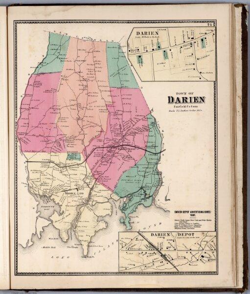 Town of Darien, Fairfield County, Connecticut.  (inset) Darien. Darien Depot.