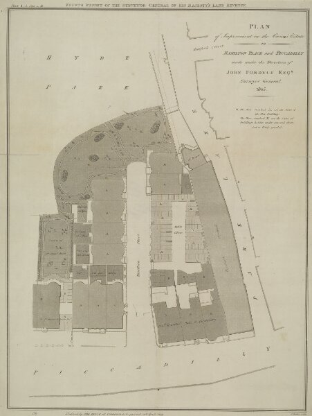 PLAN of Improvement on the Crown's Estate in HAMILTON PLACE and PICCADILLY