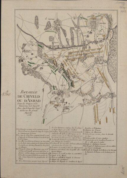 Bataille De Creveld Ou D'Anrad Entre les Francois et les Hanovriens le 23. Juin 1758
