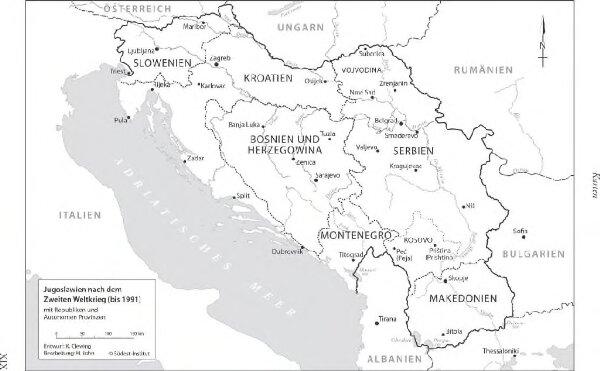 Jugoslawien nach dem Zweiten Weltkrieg (bis 1991) mit Republiken und Autonomen Provinzen