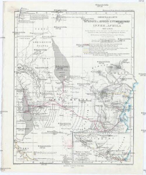 Originalkarte von Burton's u. Speke's Entdeckungen in Inner-Afrika 1857 u. 1858