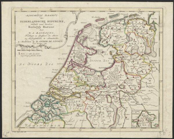 Algemeene kaarte der Nederlandsche Republiek, verdeeld naar derzelver kerkelyk bestuur