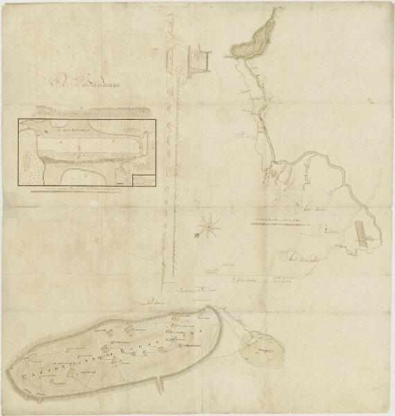 Kaart van Cattoecare of 'de Reuzentank' bij Colombo